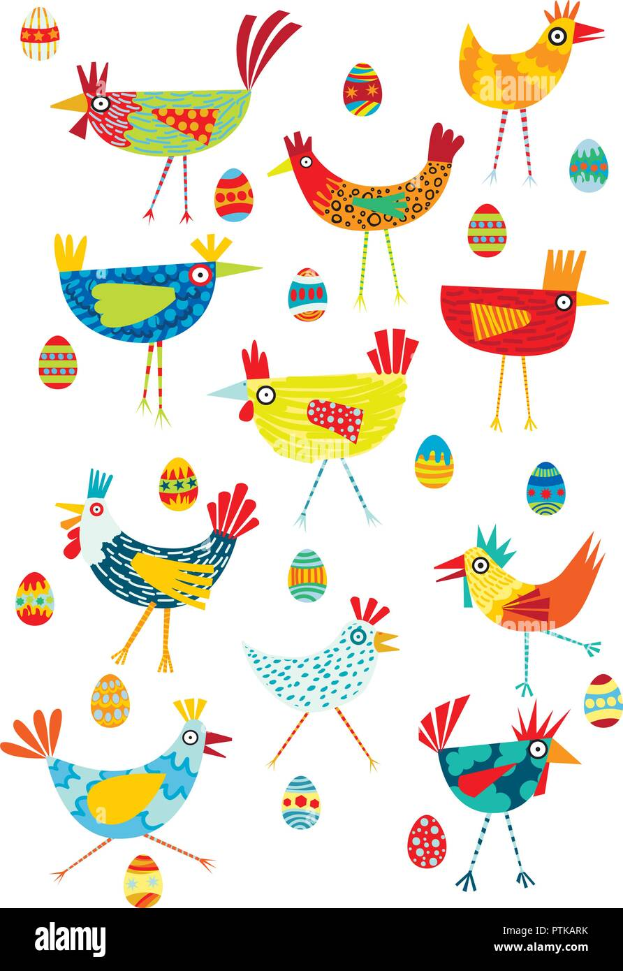 Colorful funky chickens illustration on a white background - Stock Image