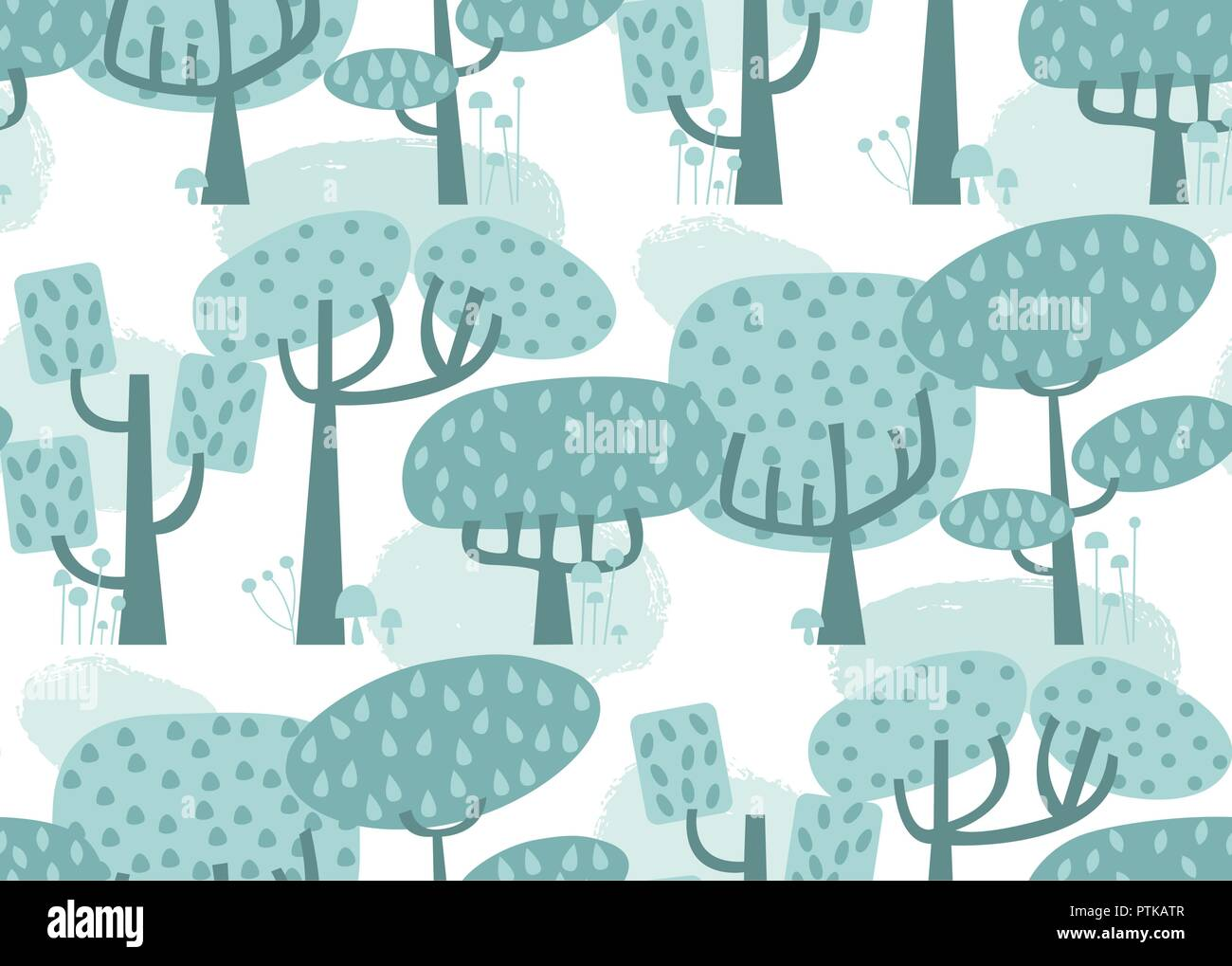 Vector forest seamless pattern background. Perfect for quilting, scrapbooking, crafting and children projects - Stock Vector