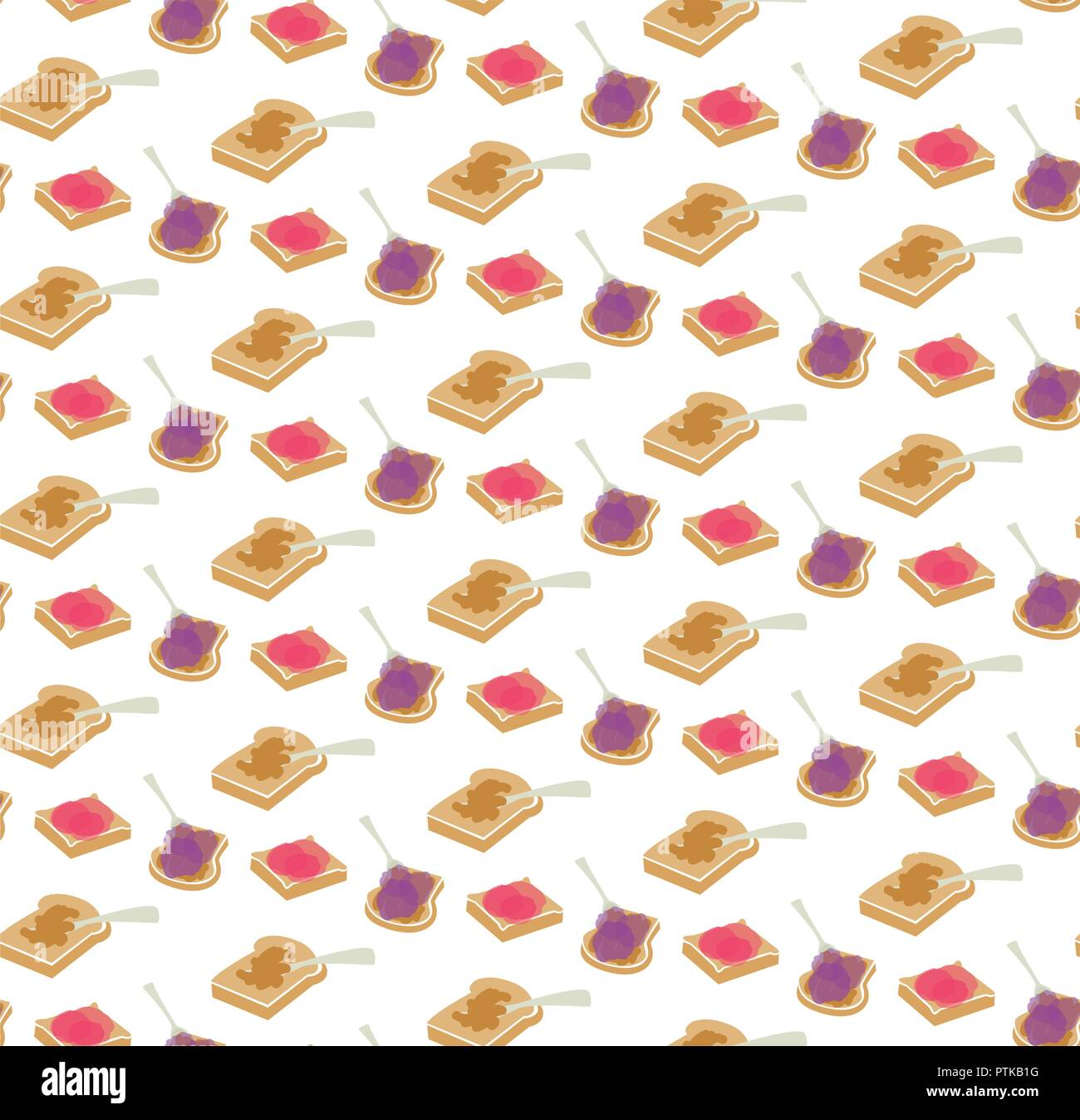 Vector peanut butter and jam seamless pattern background. Perfect for crafting projects, quilting, scrapbooking - Stock Vector