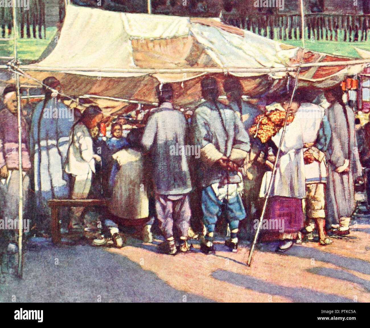 A street stall in China, circa 1909 - Stock Image