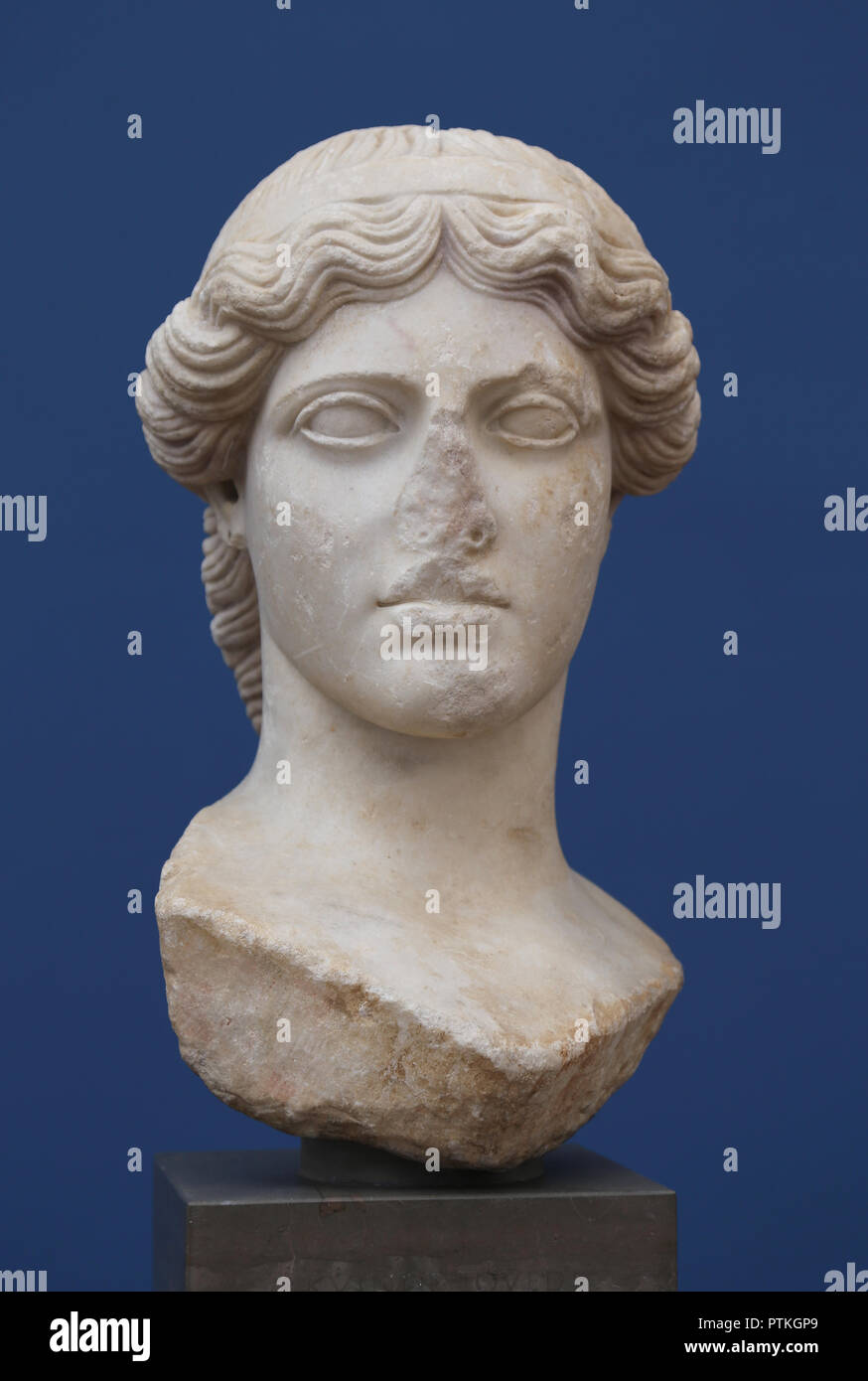 Cybele. Anatolian, Greek and Roman goddess. Great mother of the Gods. Magna Mater. 1st. century AD, marble. - Stock Image