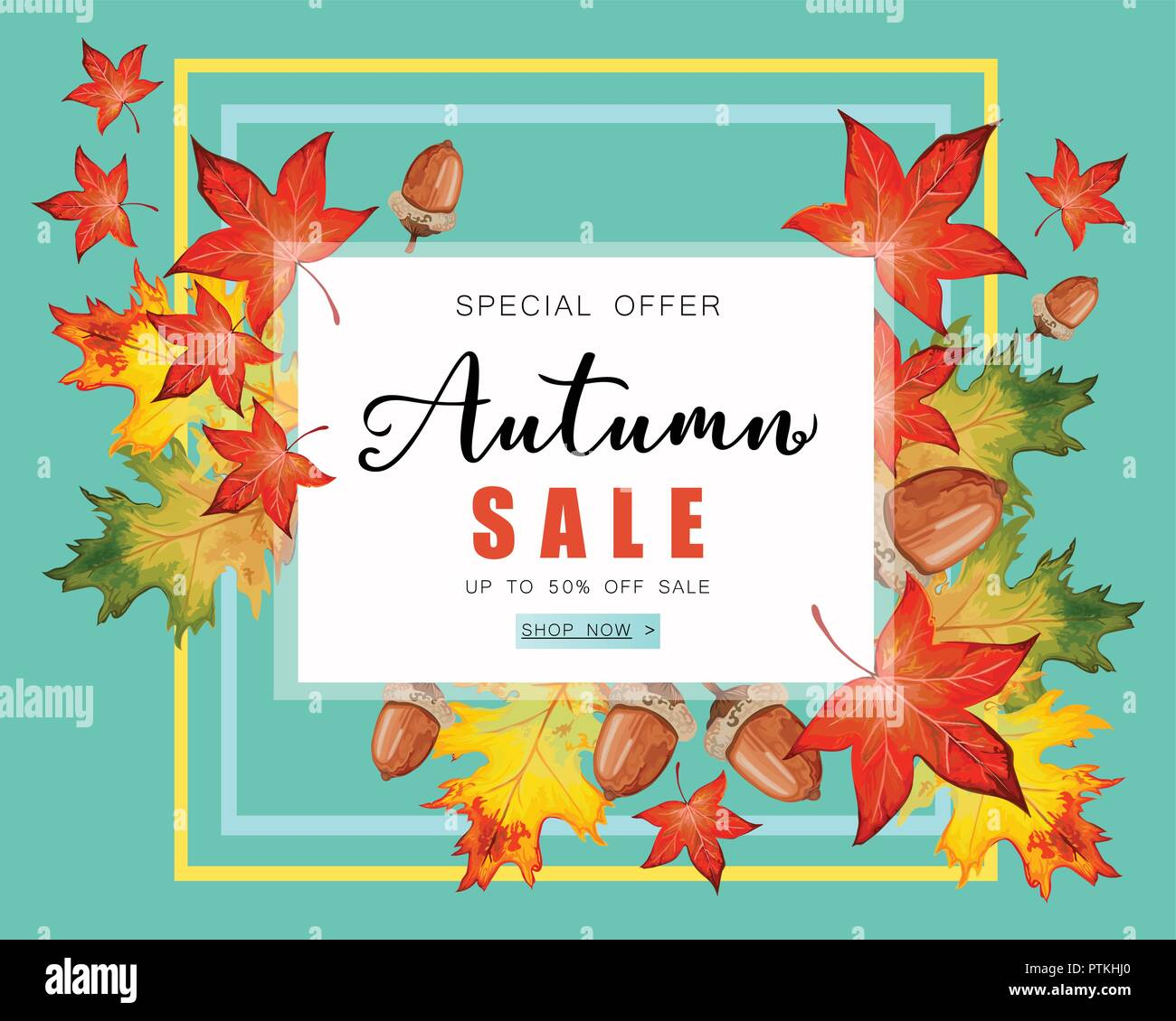 banner for autumn sale with fall leaves stock vector art