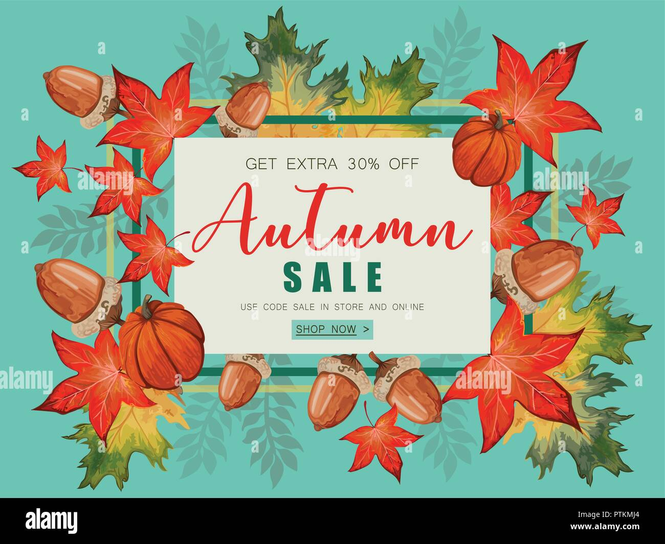 banner for autumn sale with fall leaves and pumpkin stock vector art