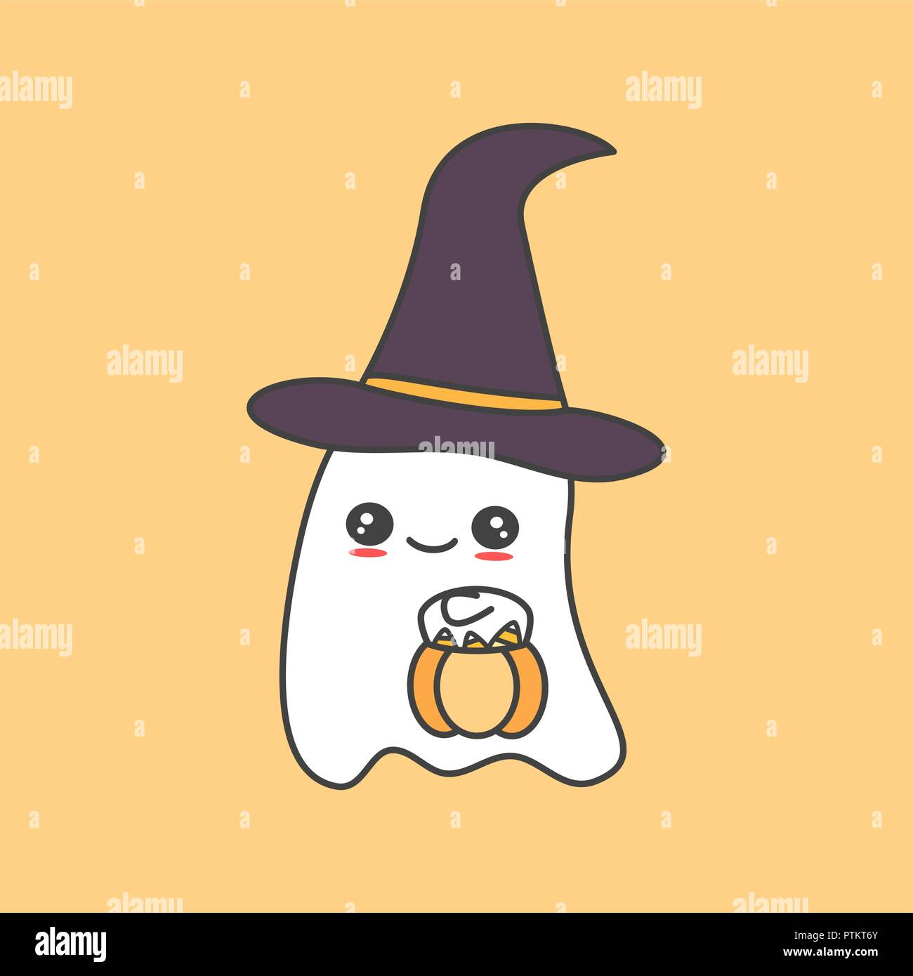 Cute Pictures Of Halloween.Cute Cartoon Ghost With Pumpkin Funny Vector Halloween Illustration Stock Vector Image Art Alamy