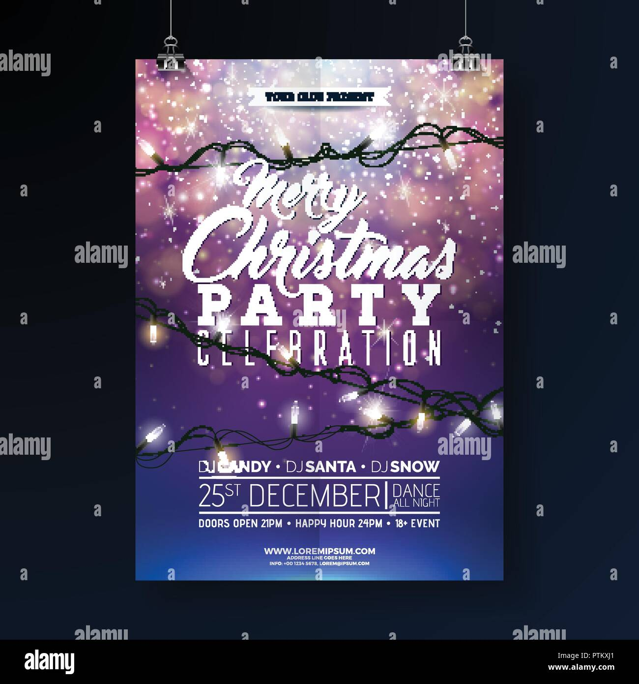 christmas party flyer illustration with lights garland and