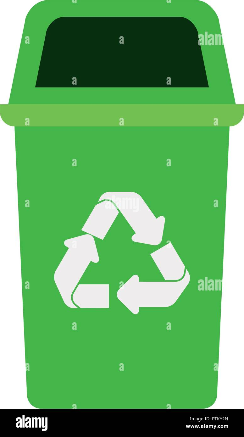 green recycling basket avatar character - Stock Vector