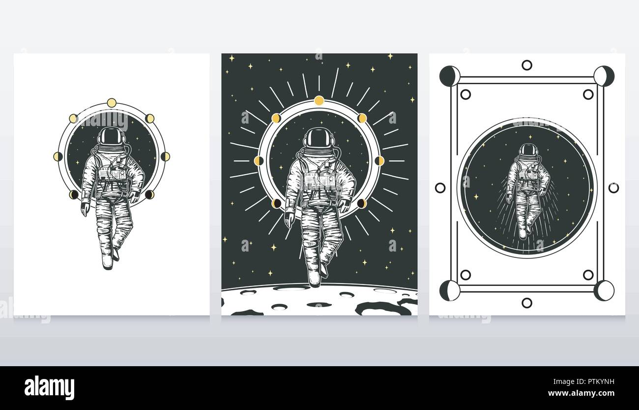 Astronaut Spaceman Cards Moon Phases Planets In Solar System The Diagram Label Pics About Space Astronomical Galaxy Cosmonaut Explore Adventure Engraved Hand Drawn Old Sketch Vintage Style For Or