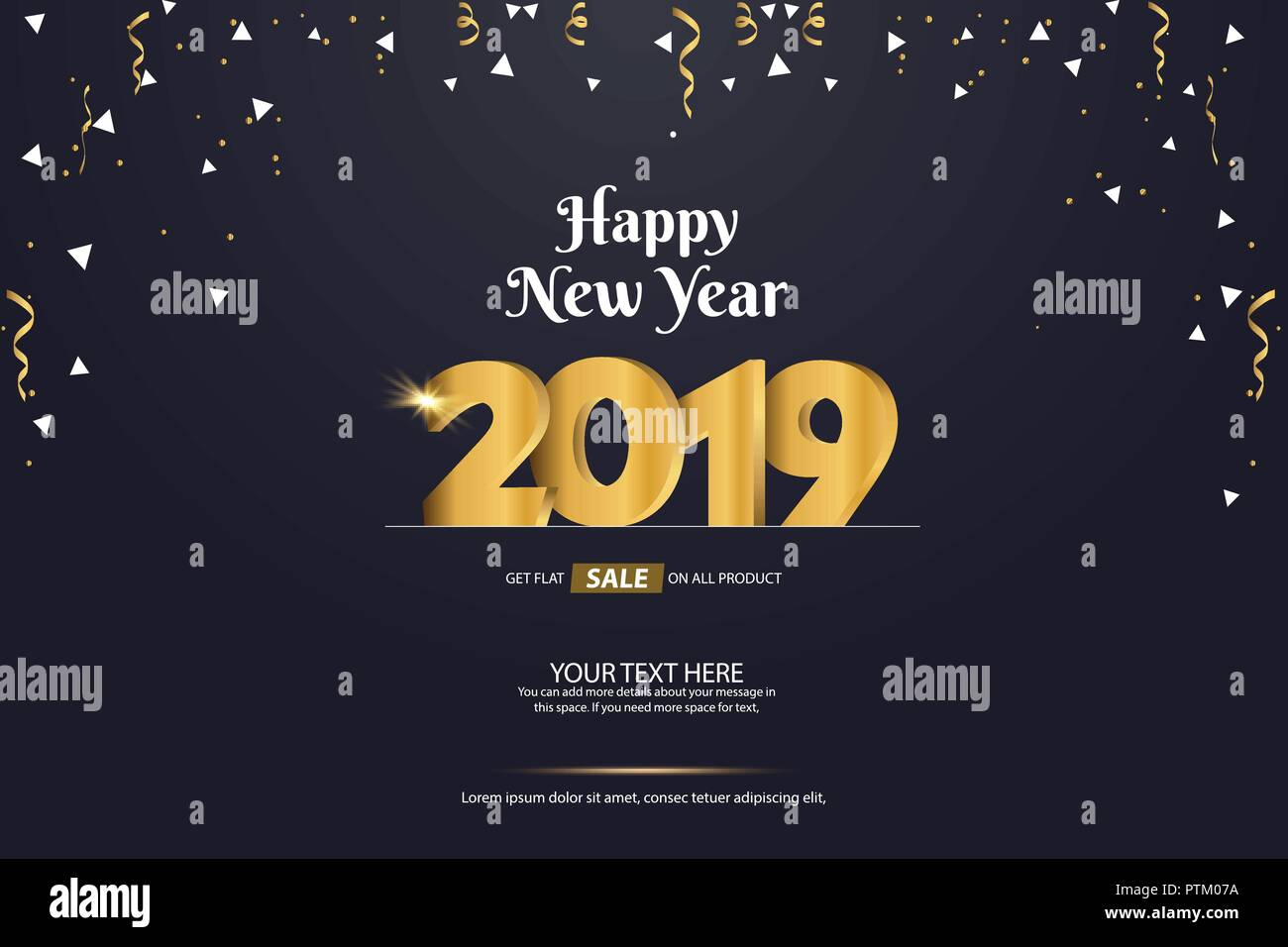 happy new year 2019 sale abstract vector background template design