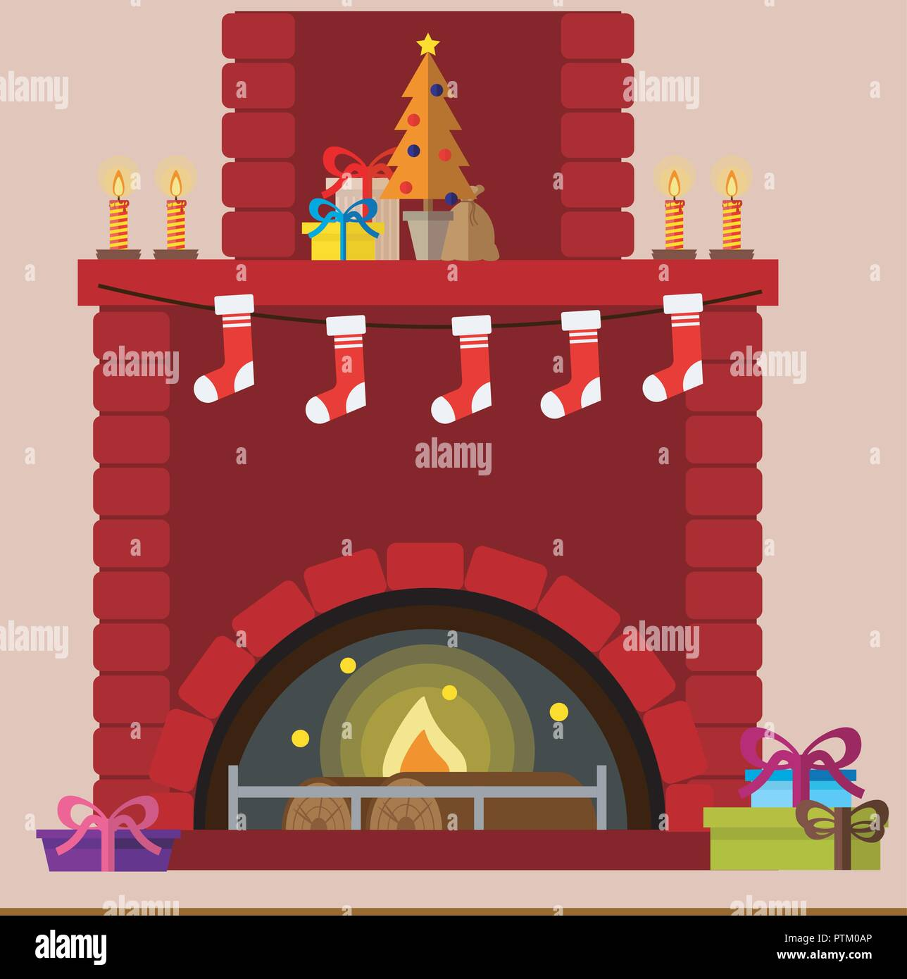 Christmas Room Stock Vector Image Of Illuminated: Cartoon Fireplace Stock Photos & Cartoon Fireplace Stock