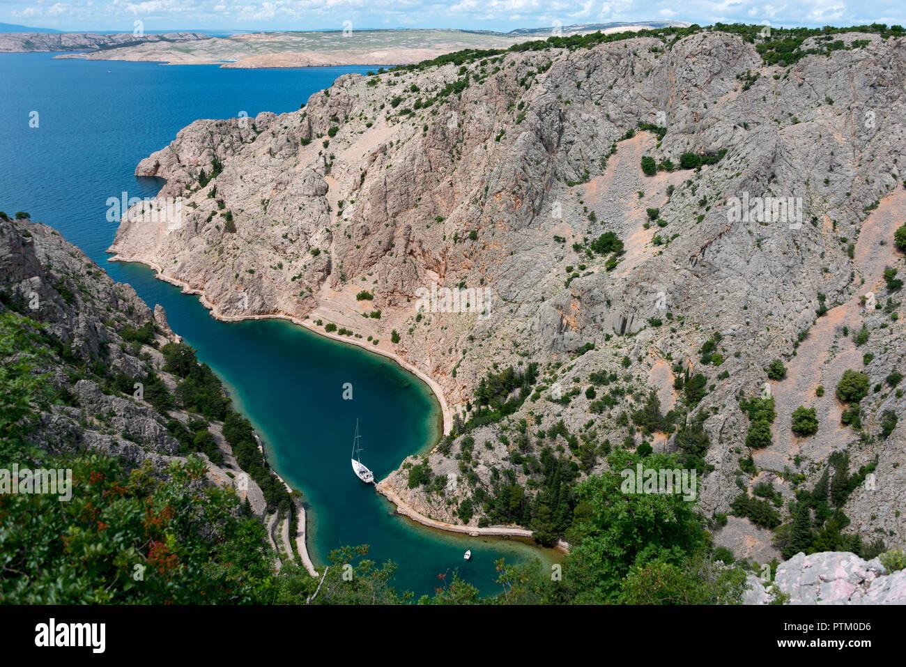 Zavratnica Bay, Prirode Velebit National Park, Jablanac, in the back Rab Island, Dalmatia, Croatia - Stock Image