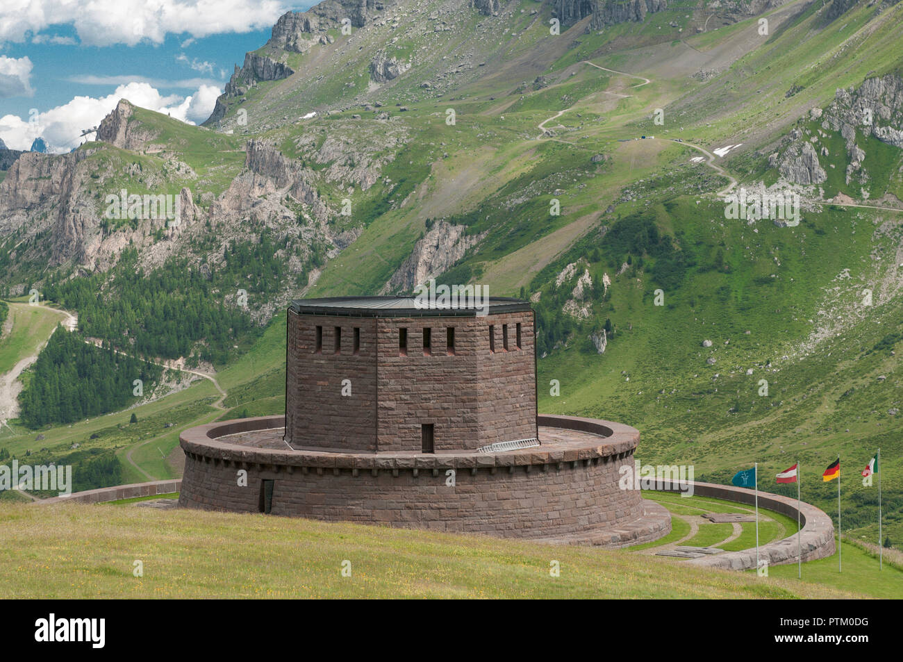 War Gravesite for German and Austrian fallen soldiers, First World War, Livinallongo del Col di Lana, Pordoijoch, Veneto, Italy Stock Photo