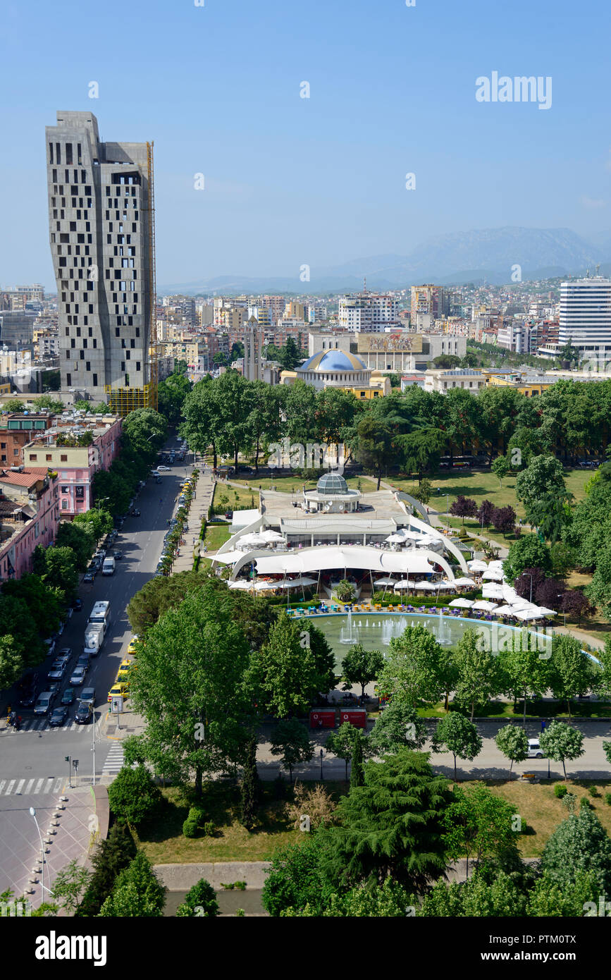 City view, City center, View from Sky Tower, in the back mountains, Tirana, Albania - Stock Image