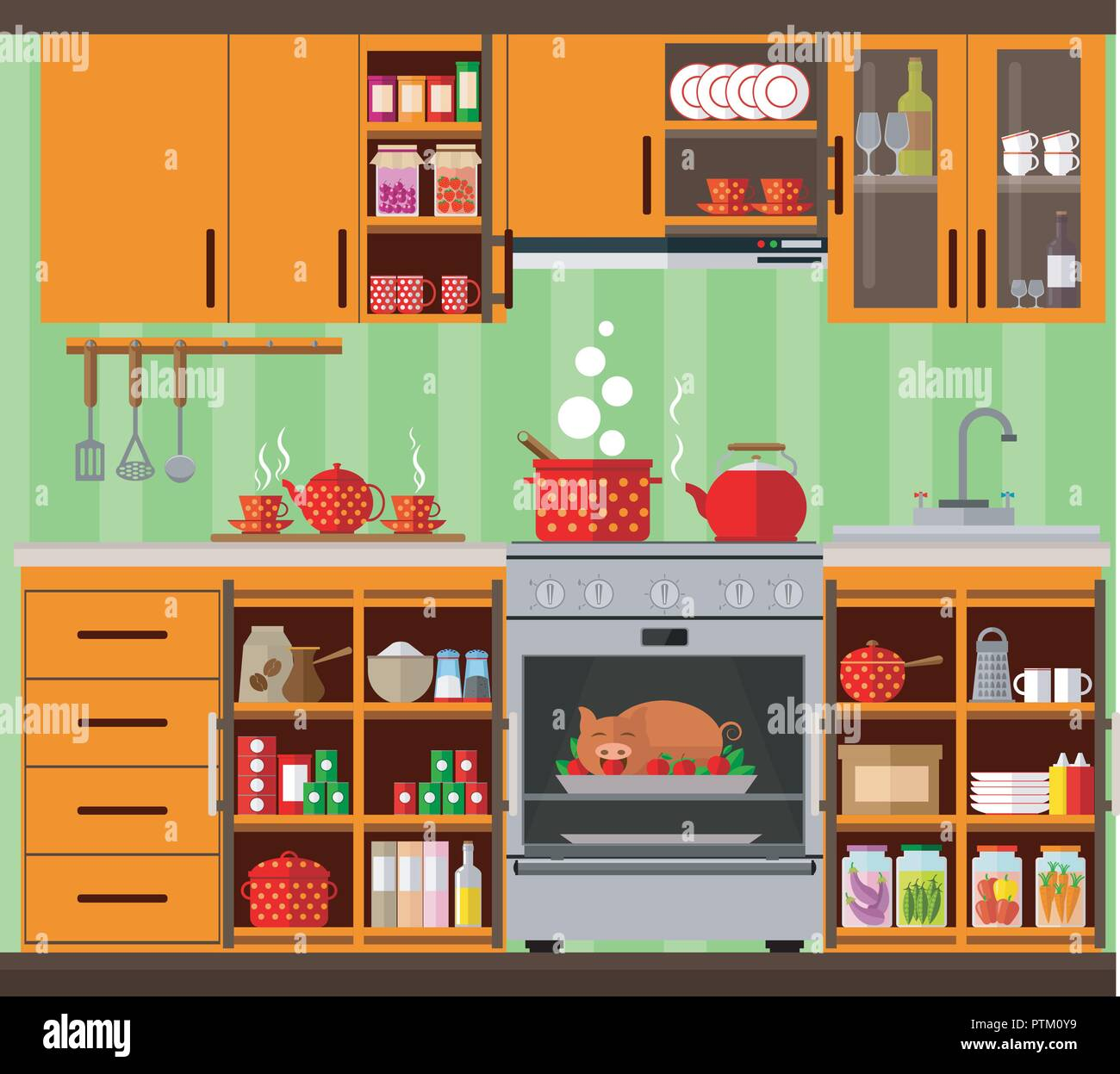 Kitchen Interior In Orange Tones Set Of Kitchen Furniture Dishes