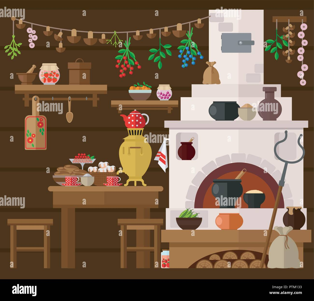 Interior of russian village house with Russian stove. Traditional farm house kitchen. - Stock Vector