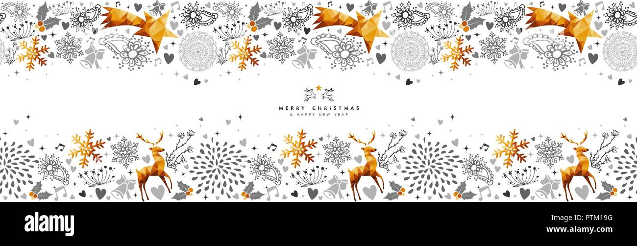 merry christmas and happy new year web banner with gold ornament decoration pattern xmas season illustration for holiday event eps10 vector