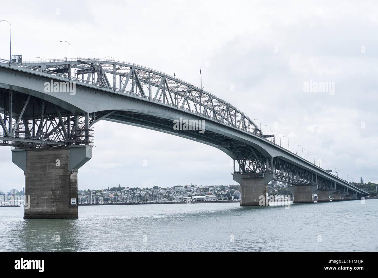 A view towards the Auckland Harbour Bridge. - Stock Image