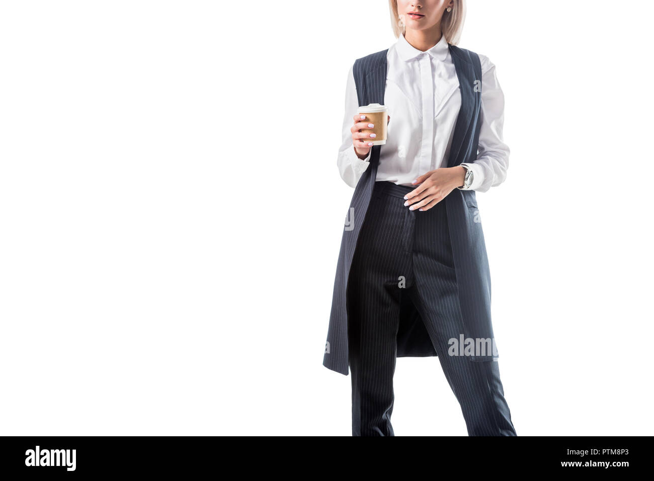 cropped shot of businesswoman in formal wear with coffee to go isolated on white - Stock Image