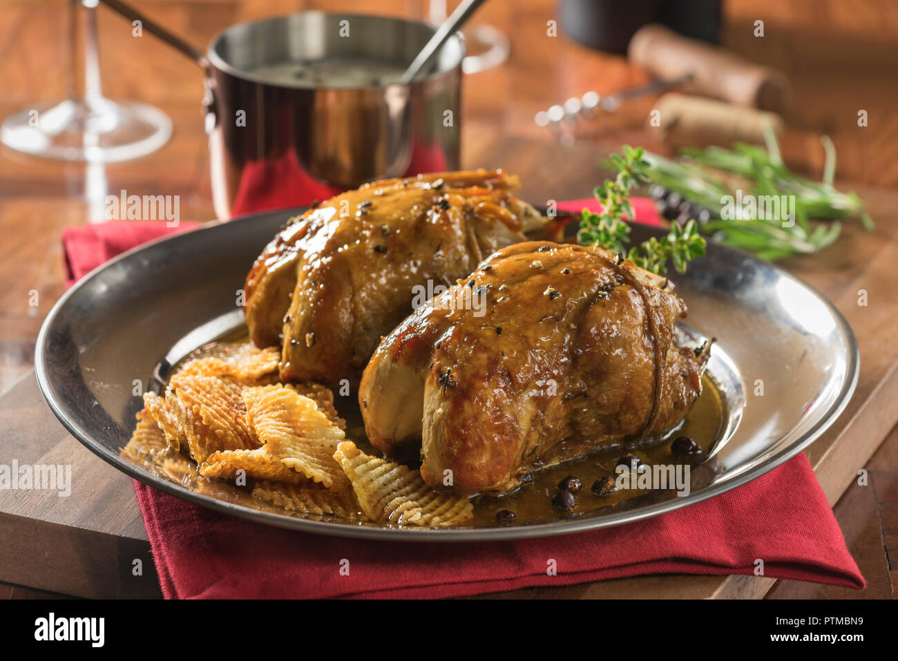 Roast partridge. Game bird UK - Stock Image