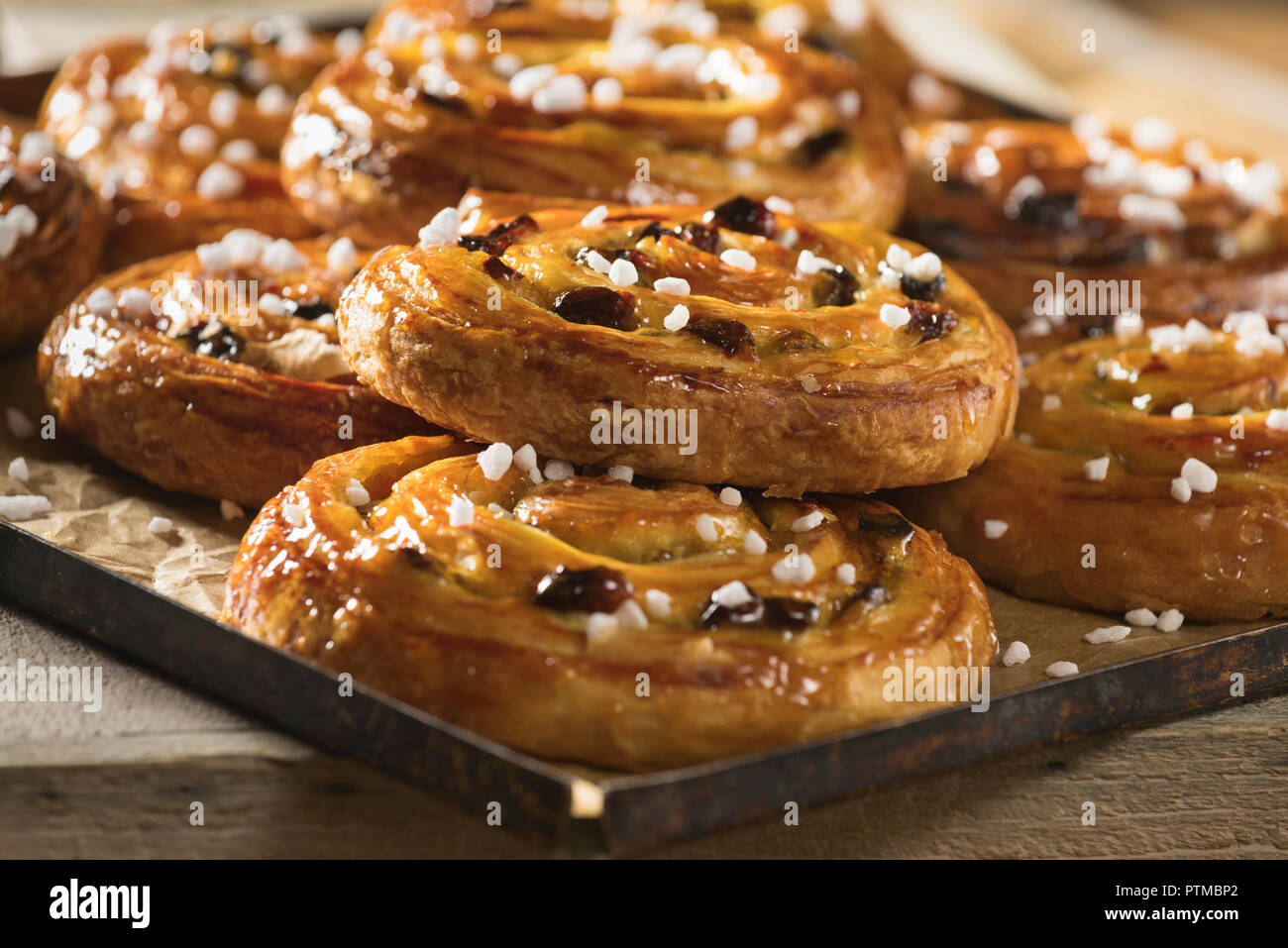 Pains aux raisins. French pastries. Food France - Stock Image