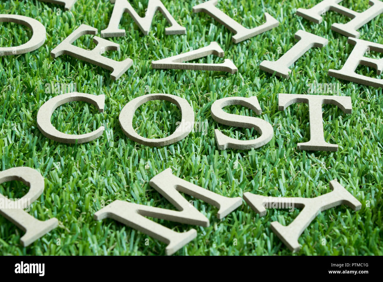 Wood letter in word cost on artificial green grass wit English alphabet background - Stock Image
