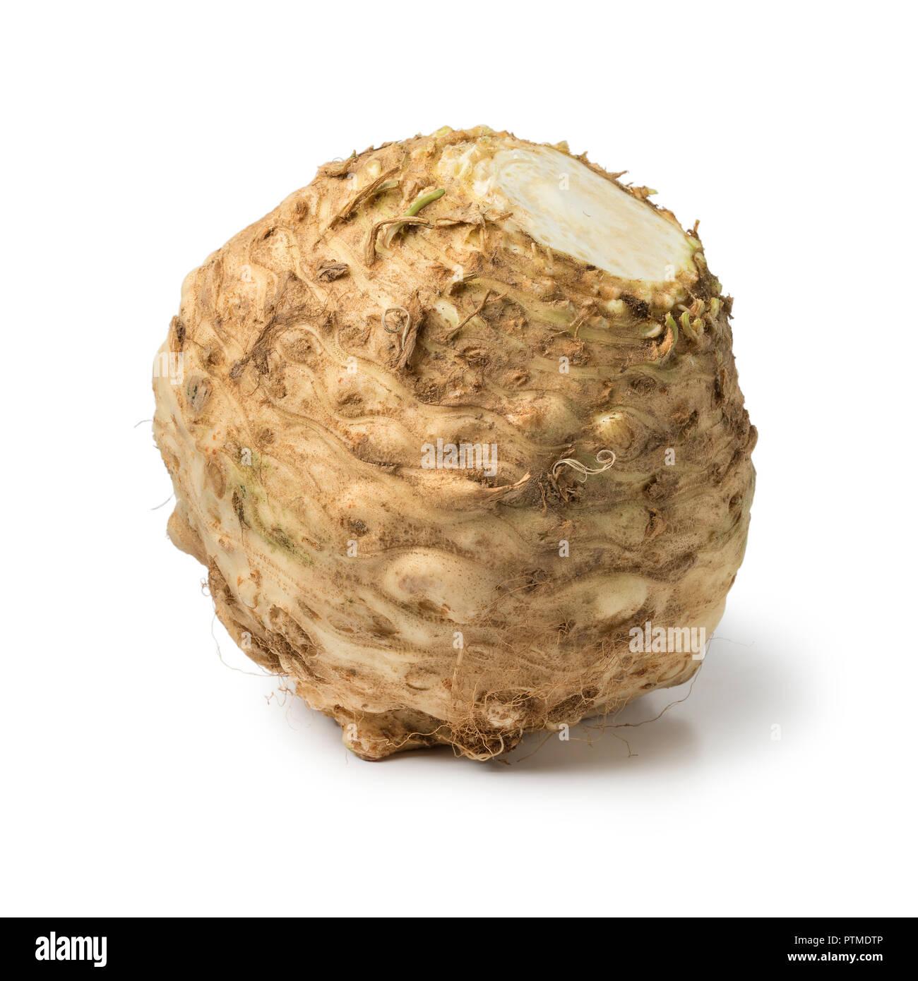 Fresh raw organic celery root isolated on white background Stock Photo