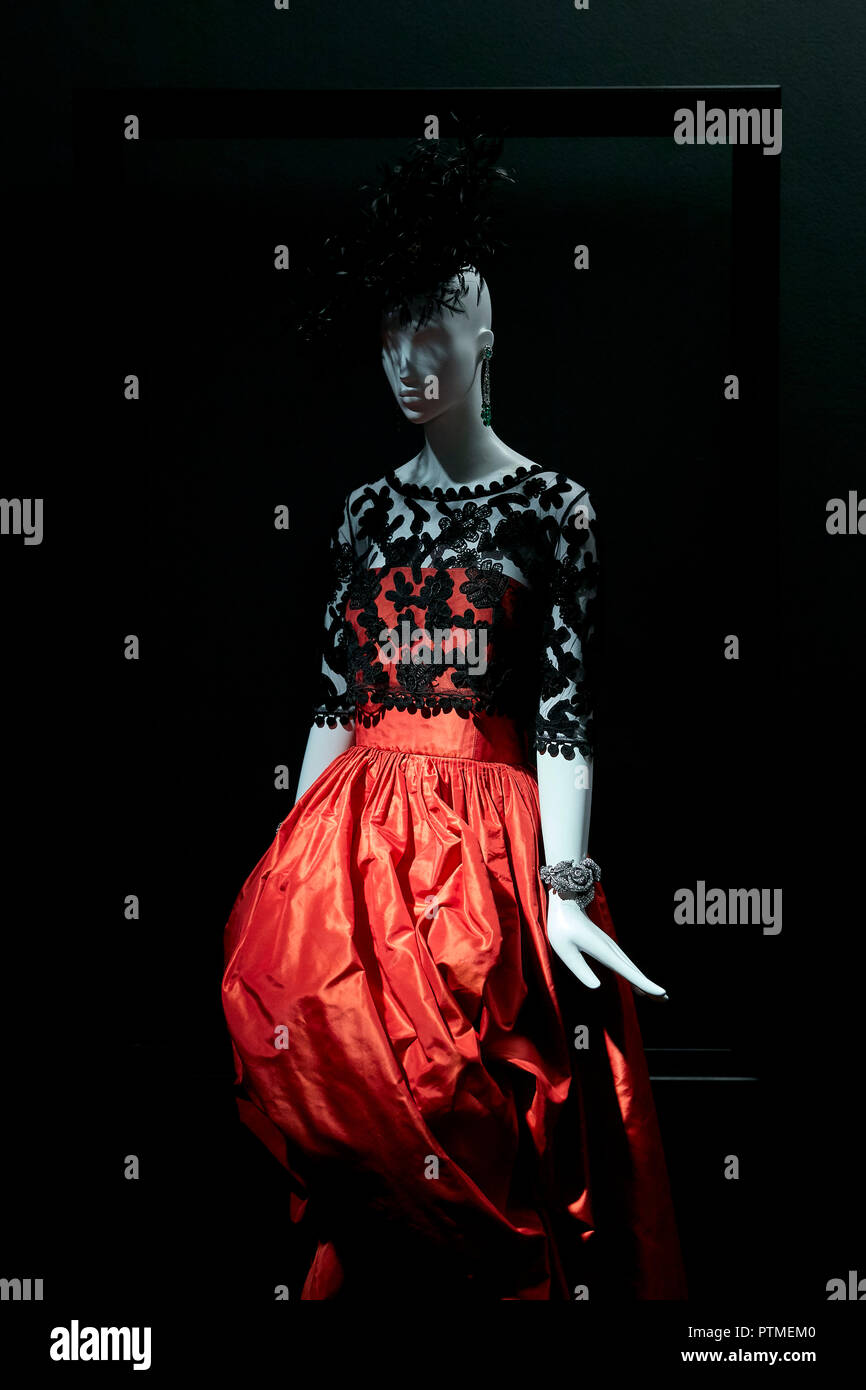 Naty Abascal's dresses are exhibited during 'TELVA tributo. Una cronica de moda. Coleccion Naty Abascal' exhibition at Royal Academy of Fine Arts of San Fernando in Madrid. - Stock Image