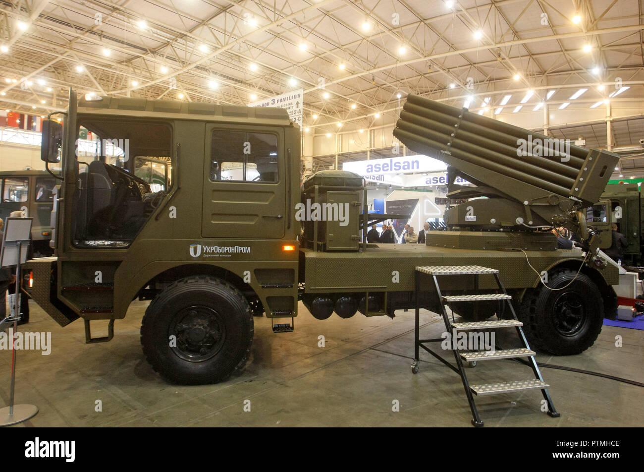 The new Ukrainian multiple rocket launcher system BM-21UM is