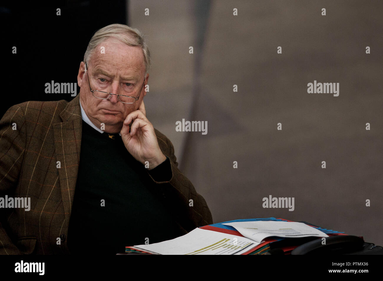 10 October 2018, Berlin: 10 October 2018, Germany, Berlin: Alexander Gauland, Co-Chairman of the AfD Parliamentary Group in the Bundestag, takes part in the 54th session of the German Bundestag during a Question Time to the Federal Government. Photo: Carsten Koall/dpa - Stock Image