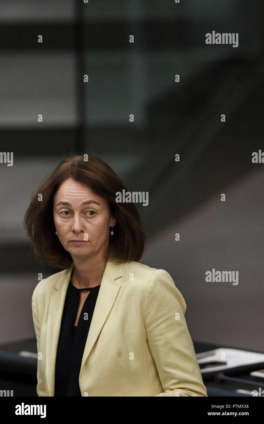 10 October 2018, Berlin: 10 October 2018, Germany, Berlin: Katarina Barley (SPD), Federal Minister of Justice and Consumer Protection, speaks at the 54th session of the Bundestag at a question time to the Federal Government. Photo: Carsten Koall/dpa - Stock Image