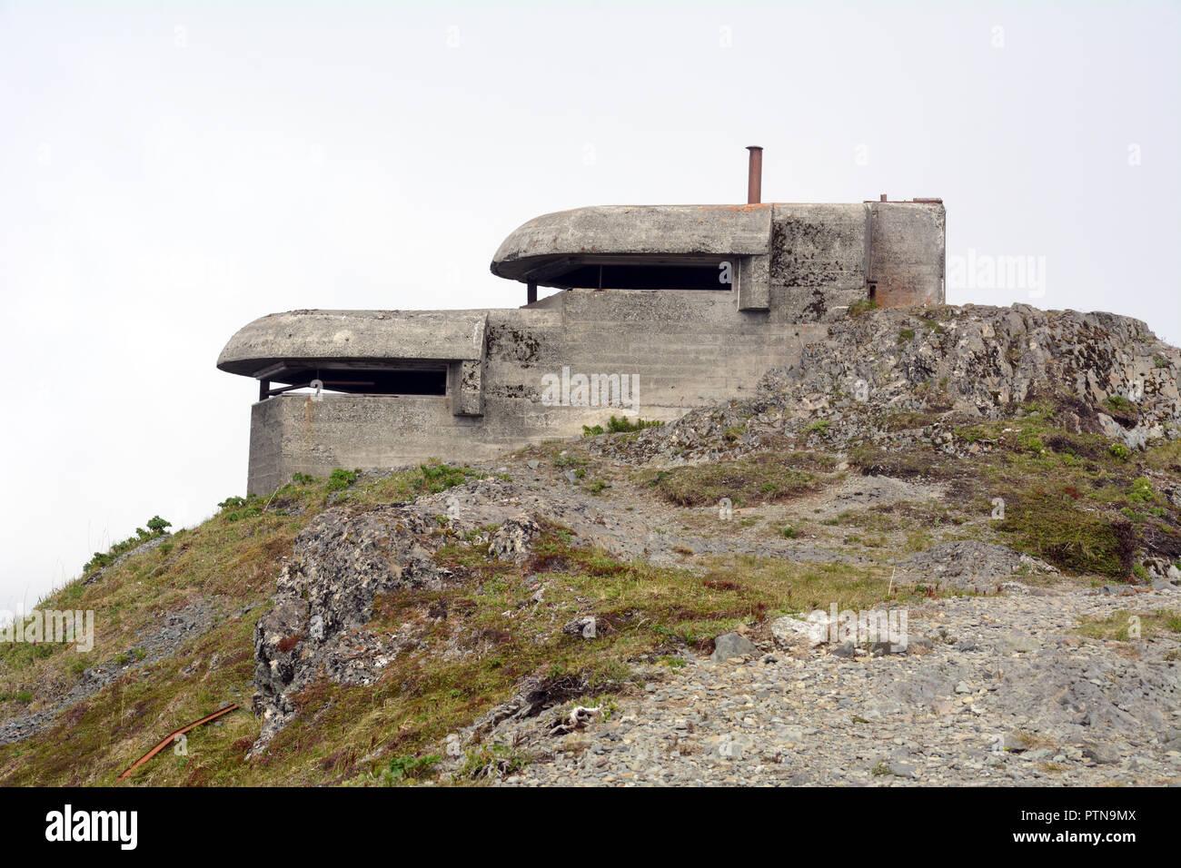 An abandoned World War Two U.S. military bunker and observation point on Bunker Hill, over Dutch Harbor, Unalaska, Aleutian Islands, Alaska, USA. - Stock Image