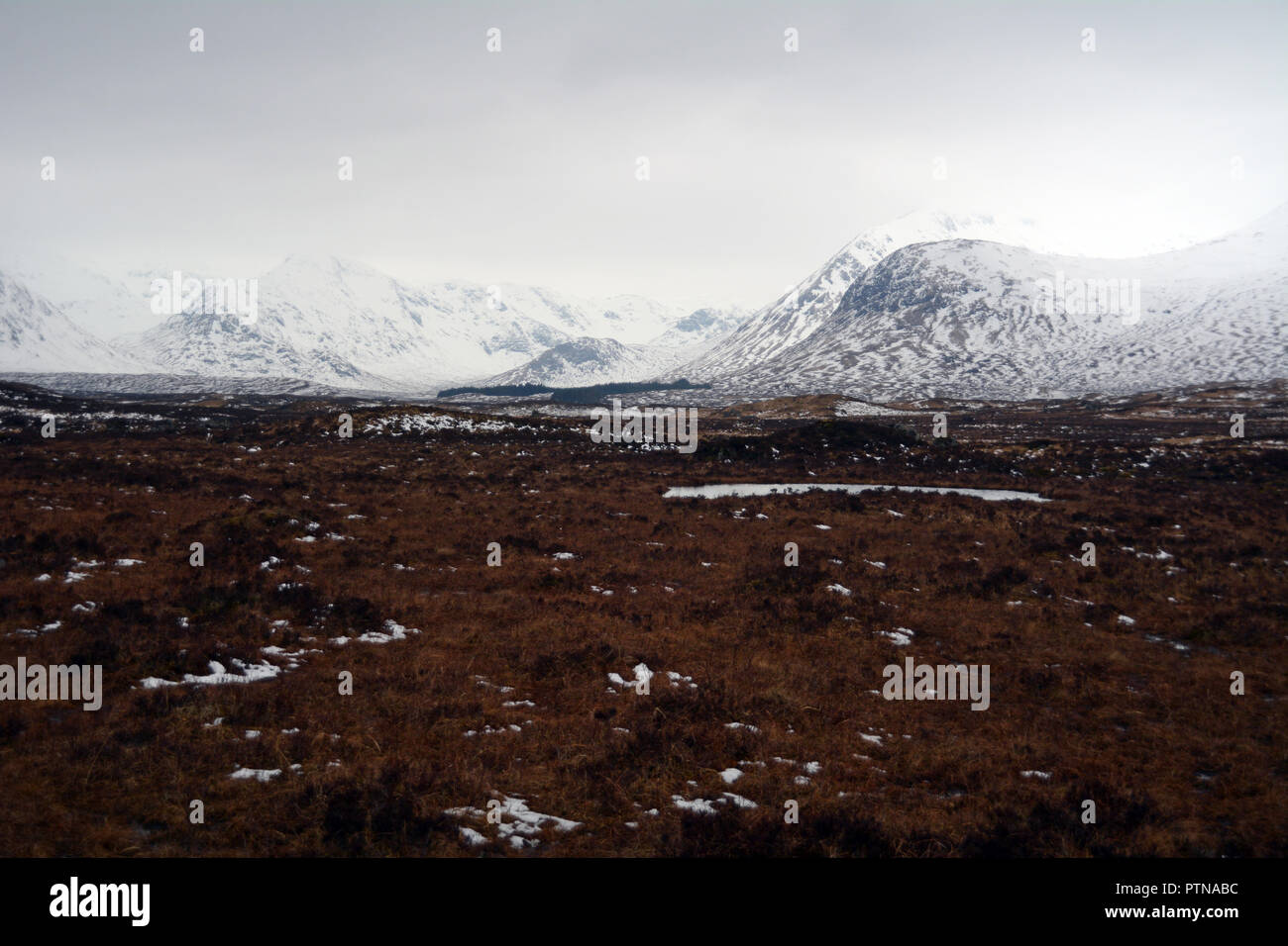The snow covered mountains of the Black Mount range amid the boggy moorland of Rannoch Moor, Scottish Highlands, Scotland, United Kingdom. - Stock Image