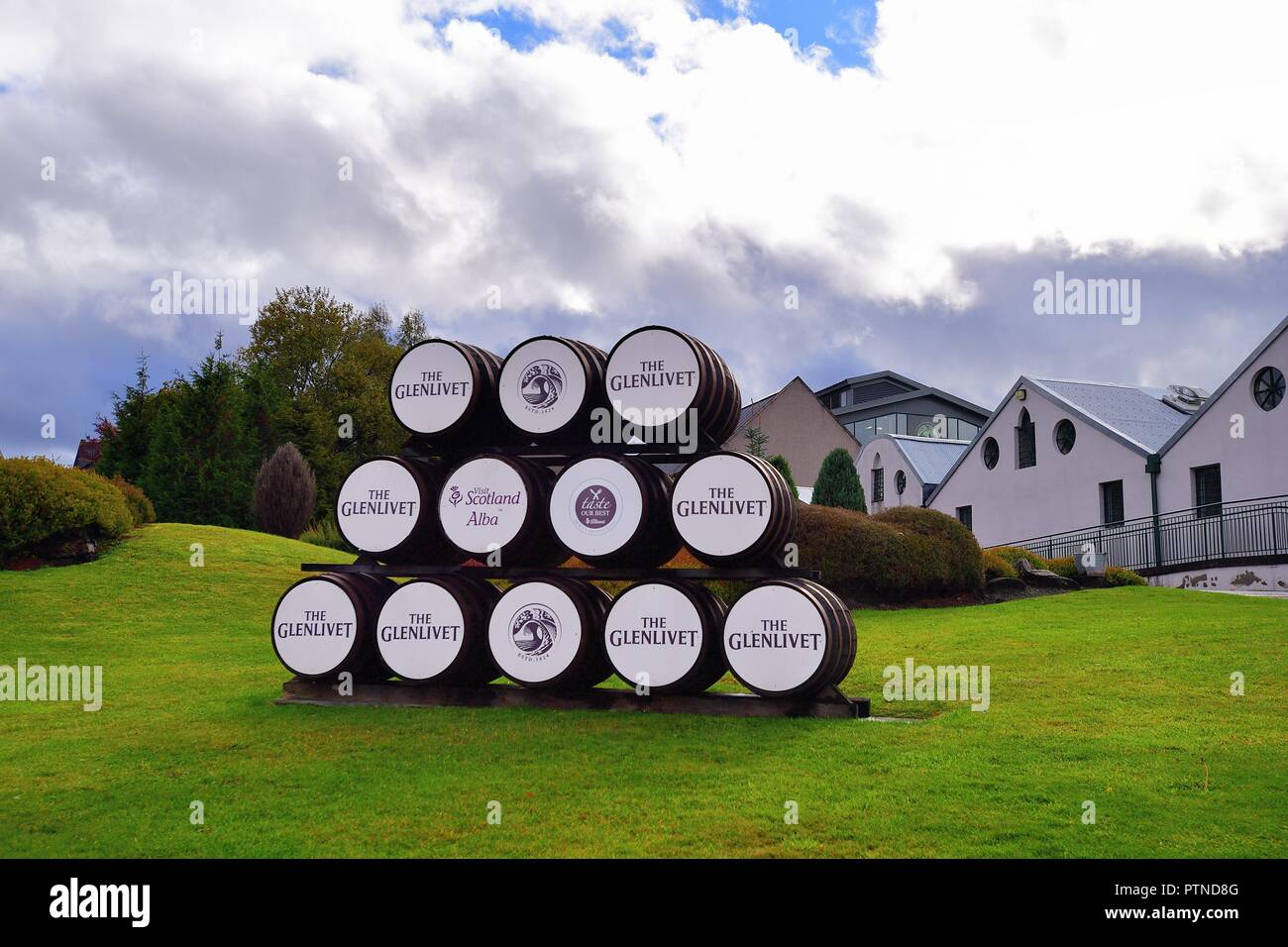 Ballindalloch, Scotland, United Kingdom. The Glenlivit Distillery in the Highlands of Scotland. - Stock Image