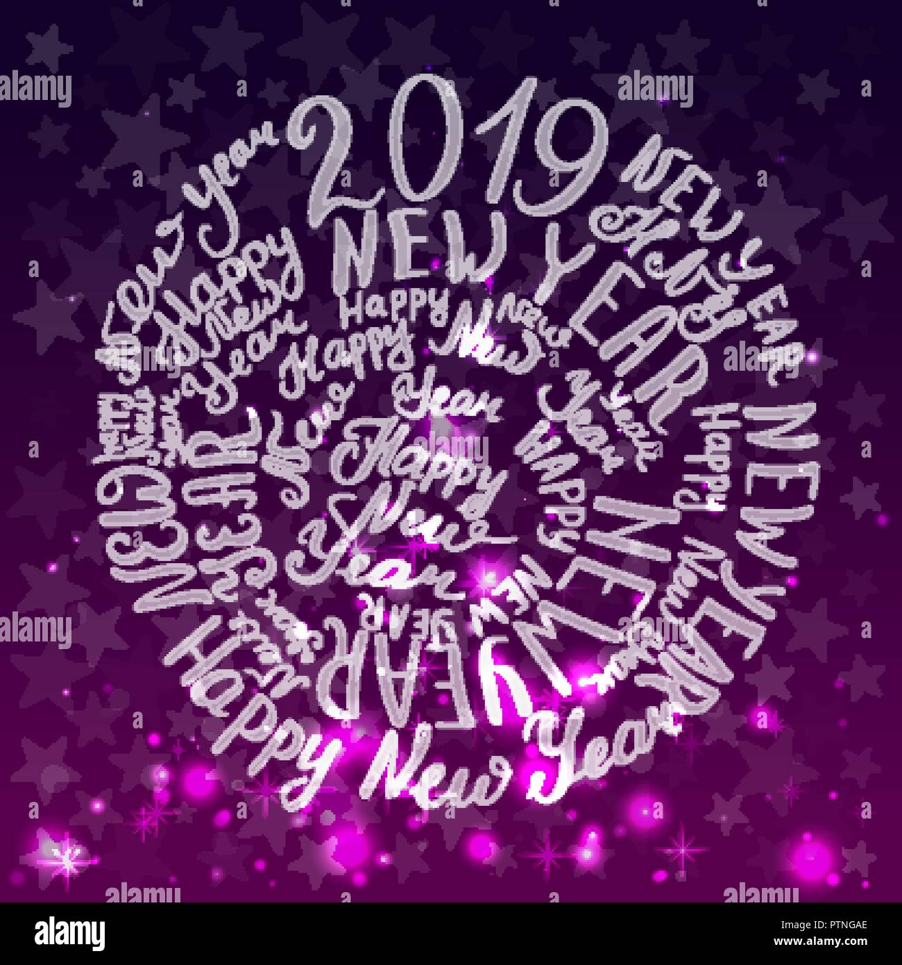 happy new year handwriting calligraphy vector illustration purple background