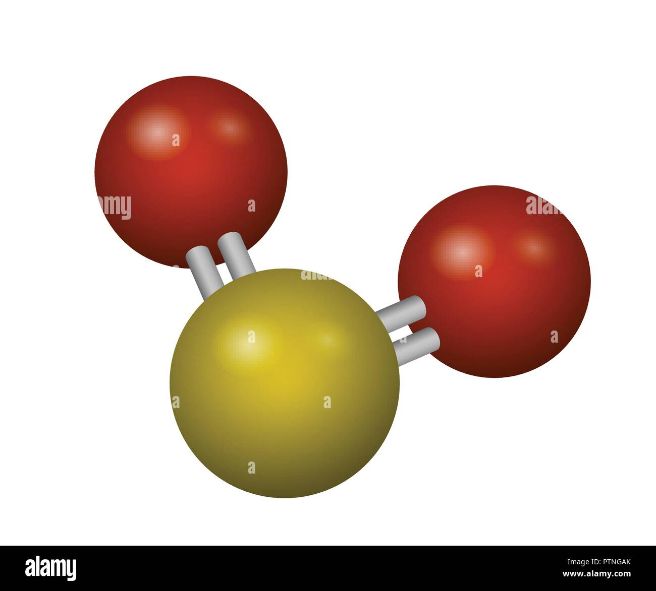 A molecule of sulfur dioxide. SO2 3D model. Vector illustration. Chemical structure. - Stock Image