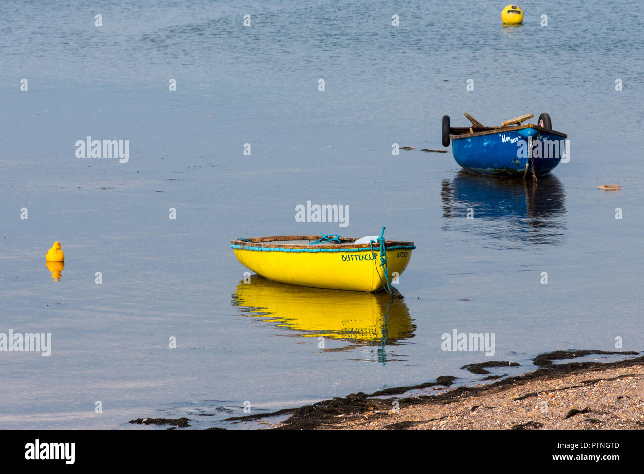 Coloured boats at Shelly Beach,Exmouth, Devon, UK. - Stock Image