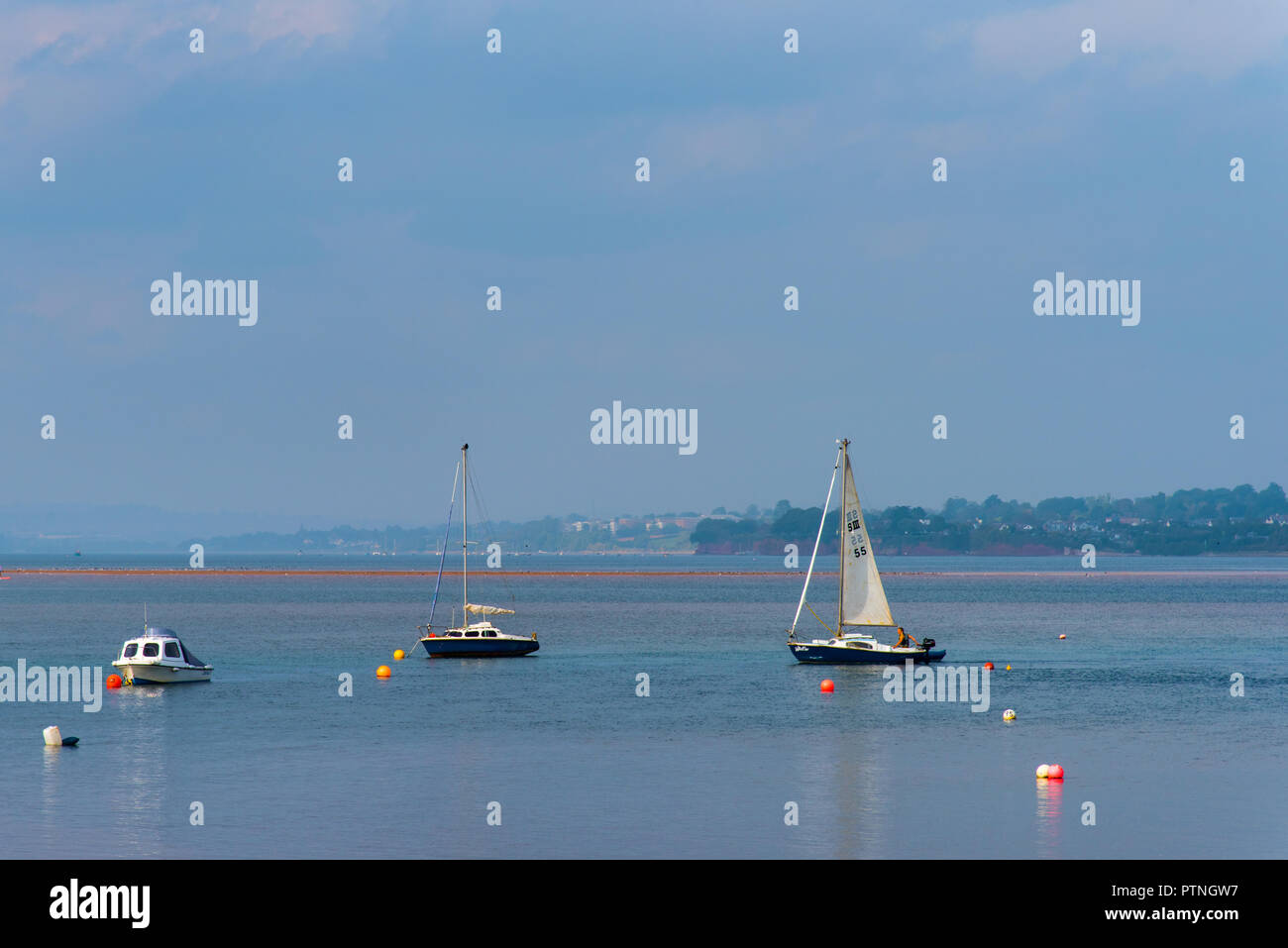 Sailing on the River Exe Estuary, Exmouth, Devon, UK. - Stock Image