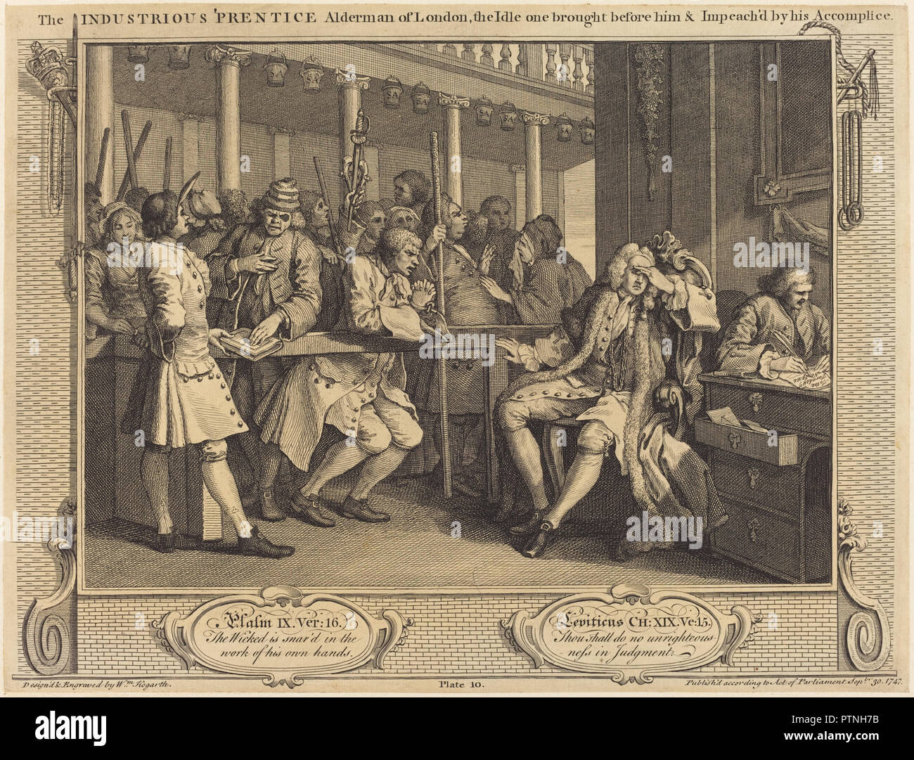 The Industrious 'Prentice Alderman of London,the Idle one brought before him & impea ch'd by his Accomplice. Dated: 1747. Medium: etching and engraving. Museum: National Gallery of Art, Washington DC. Author: William Hogarth. Stock Photo