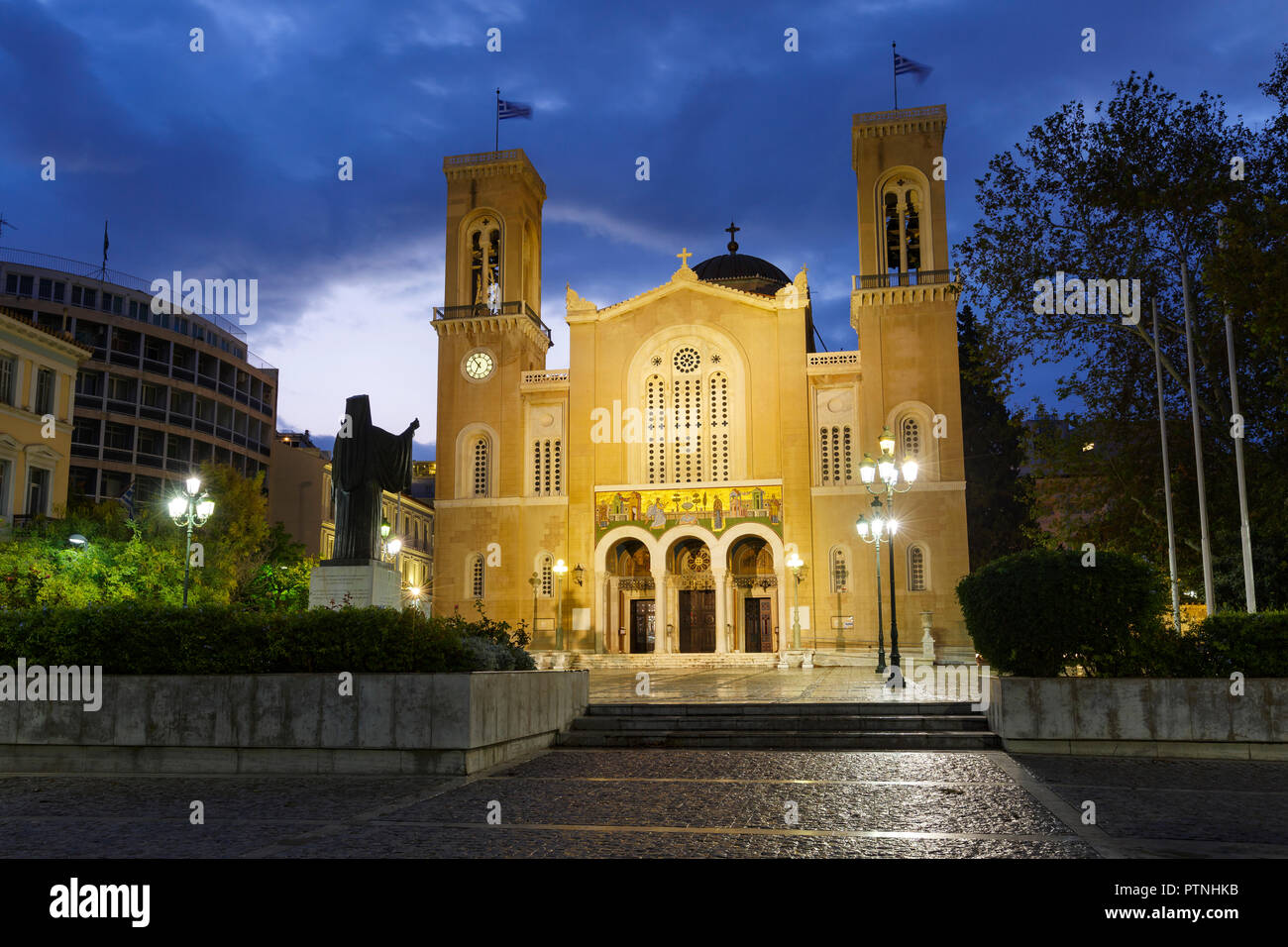 Athens, Greece - September 29, 2018: Metropolitan cathedral of Athens located in Metropolis square in Athenian old town. - Stock Image