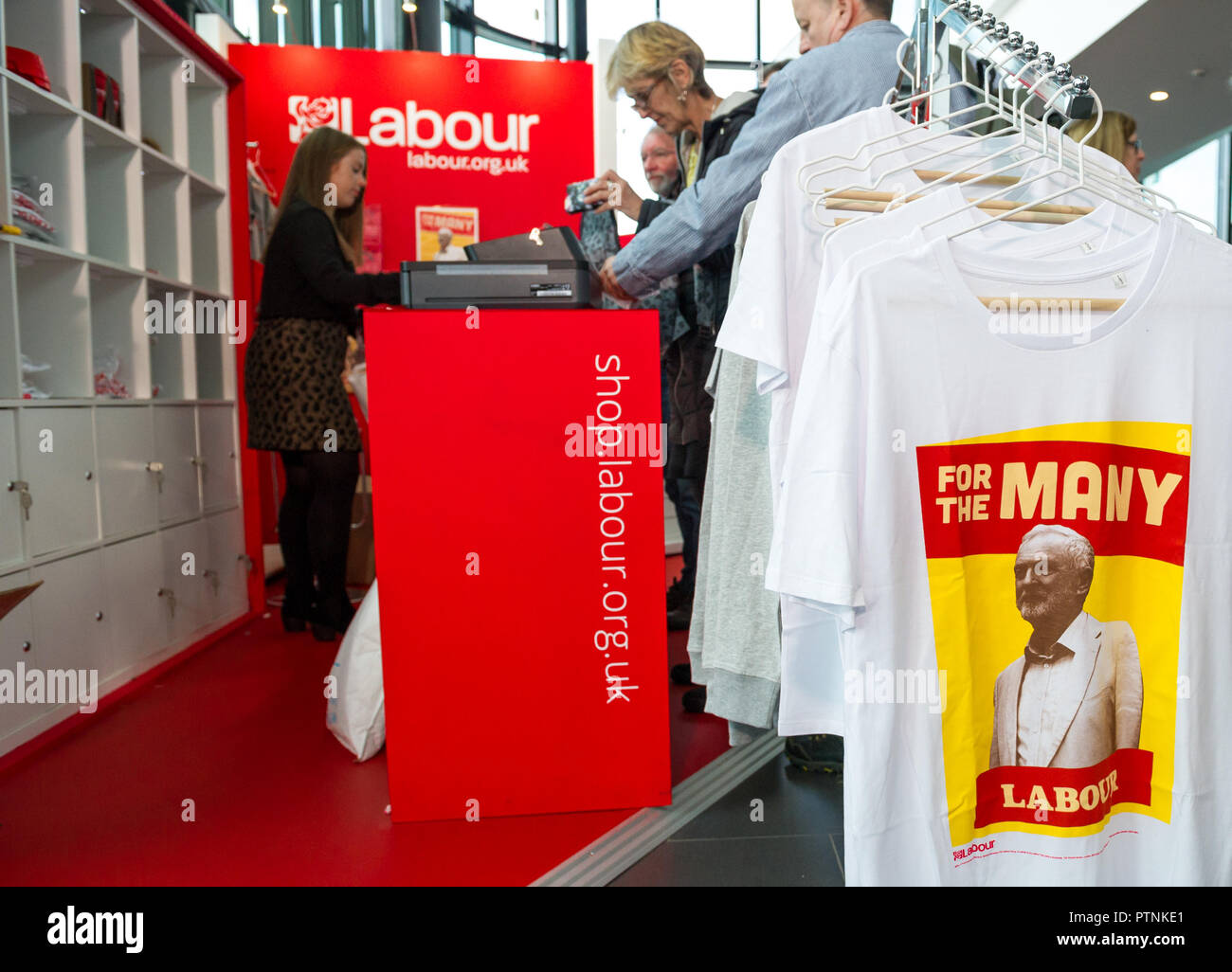 White Jeremy Corbyn tee shirts for sale at the Labour Party annual conference 2018, Liverpool. - Stock Image