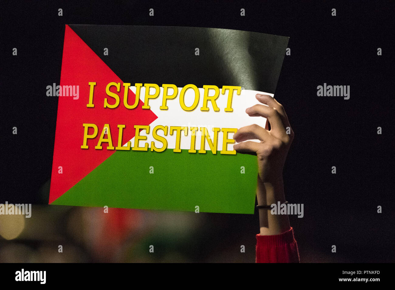 Supporters for Free Palestine wave the Palestine flag at the Labour party Conference.Labour Party Annual Conference 2018. - Stock Image