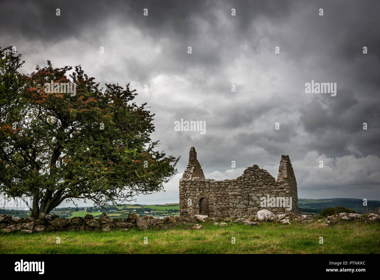 Hen Capel Lligwy ruined chapel on Anglesey, Wales, UK - Stock Image