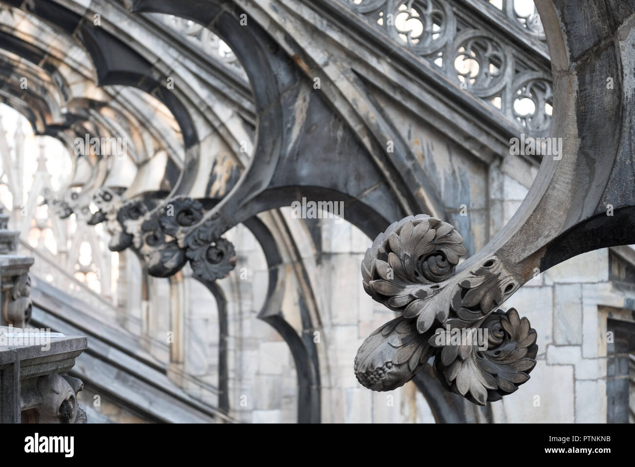 Milan, Italy. Photo taken high up in the terraces of Milan Cathedral / Duomo di Milano, showing the gothic architecture in detail. Stock Photo