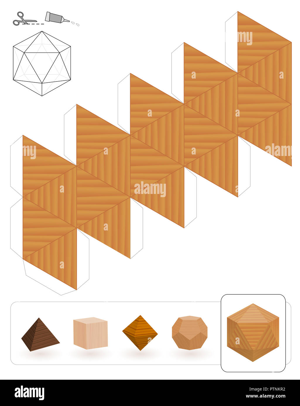 Platonic solids. Template of a icosahedron with wooden texture to make a 3d paper model out of the triangle net. - Stock Image