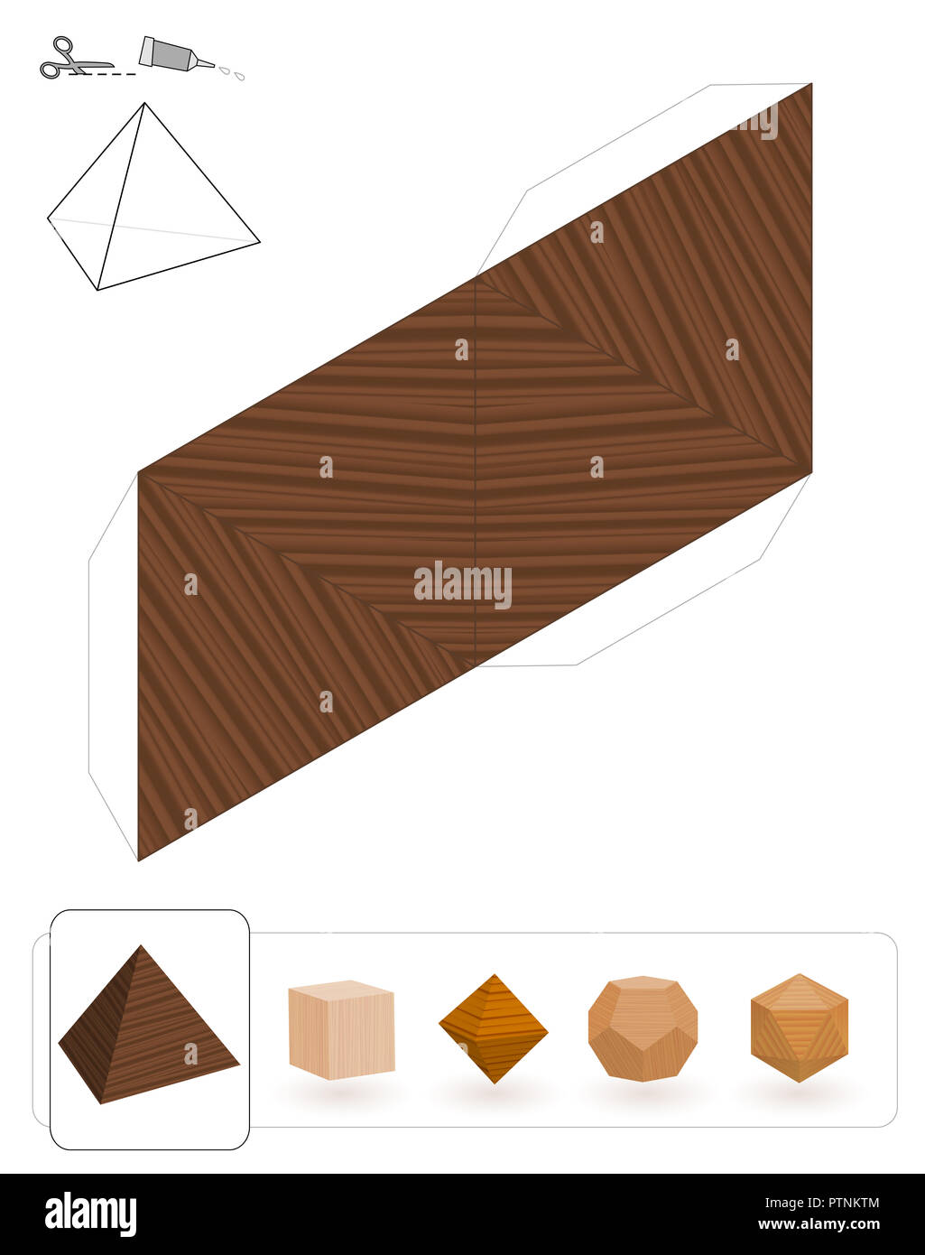 Platonic solids. Template of a tetrahedron with wooden texture to make a 3d paper model out of the triangle net. - Stock Image
