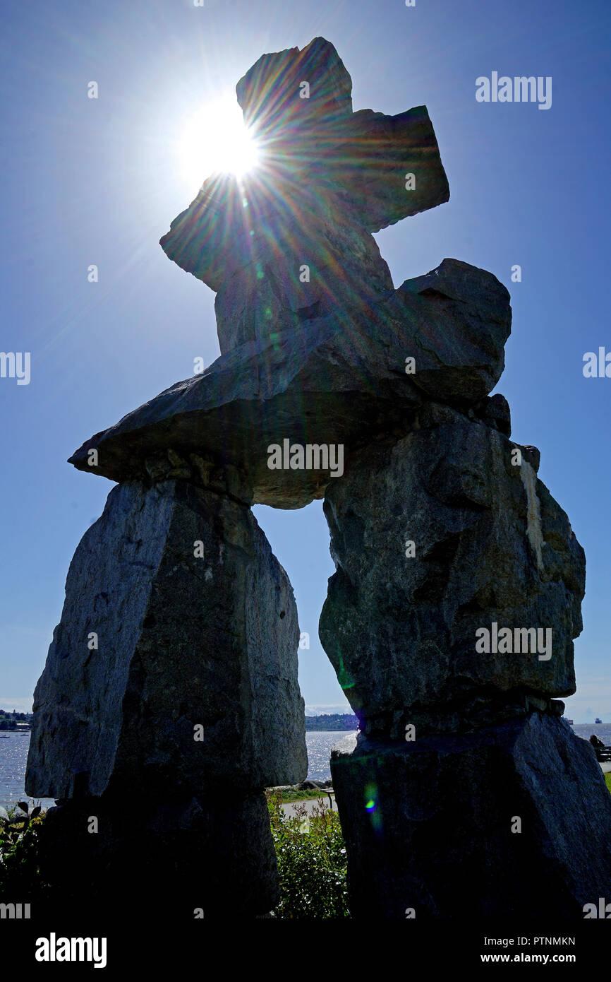 Inukshuk, human-made stone landmark, Vancouver, Canada - Stock Image