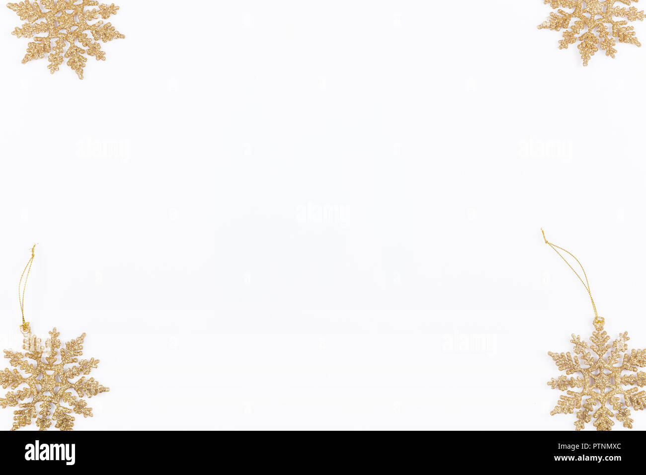 christmas or new year frame composition christmas gold decorations on white background with empty copy space for text holiday and celebration concept for