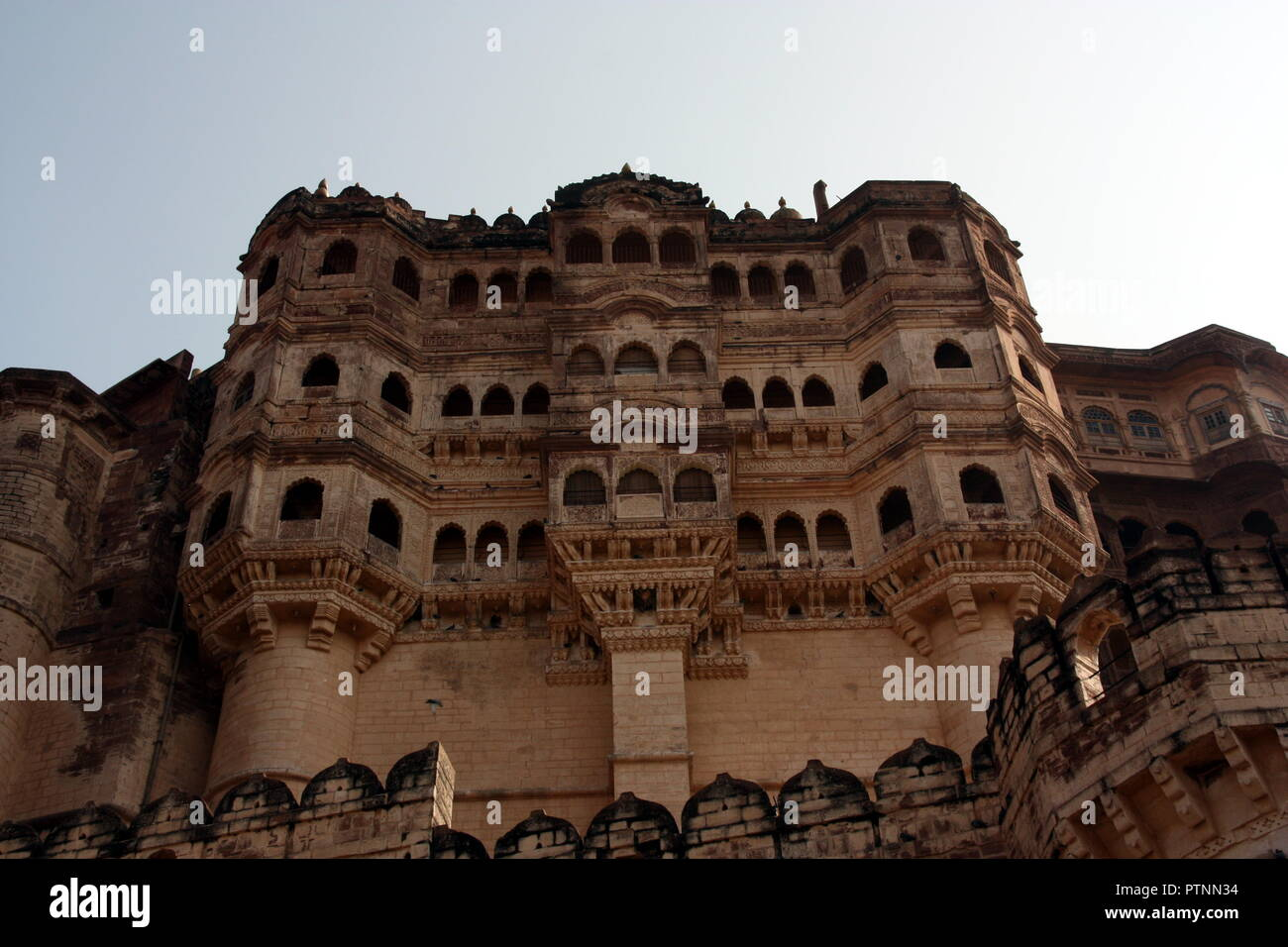 The Mehrangarh Fortress in Jodhpur in India - Stock Image