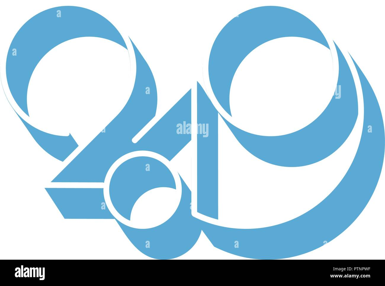 2019 logo new year vector on white background lettering for print web greeting card and posters