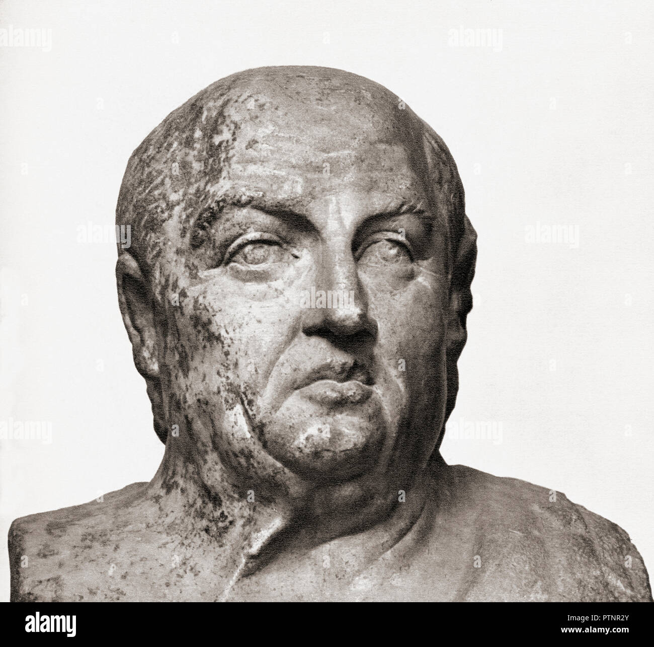 Bust of Seneca the Younger, aka Seneca, c. 4 BC – AD 65.   Roman Stoic philosopher, statesman, dramatist. - Stock Image