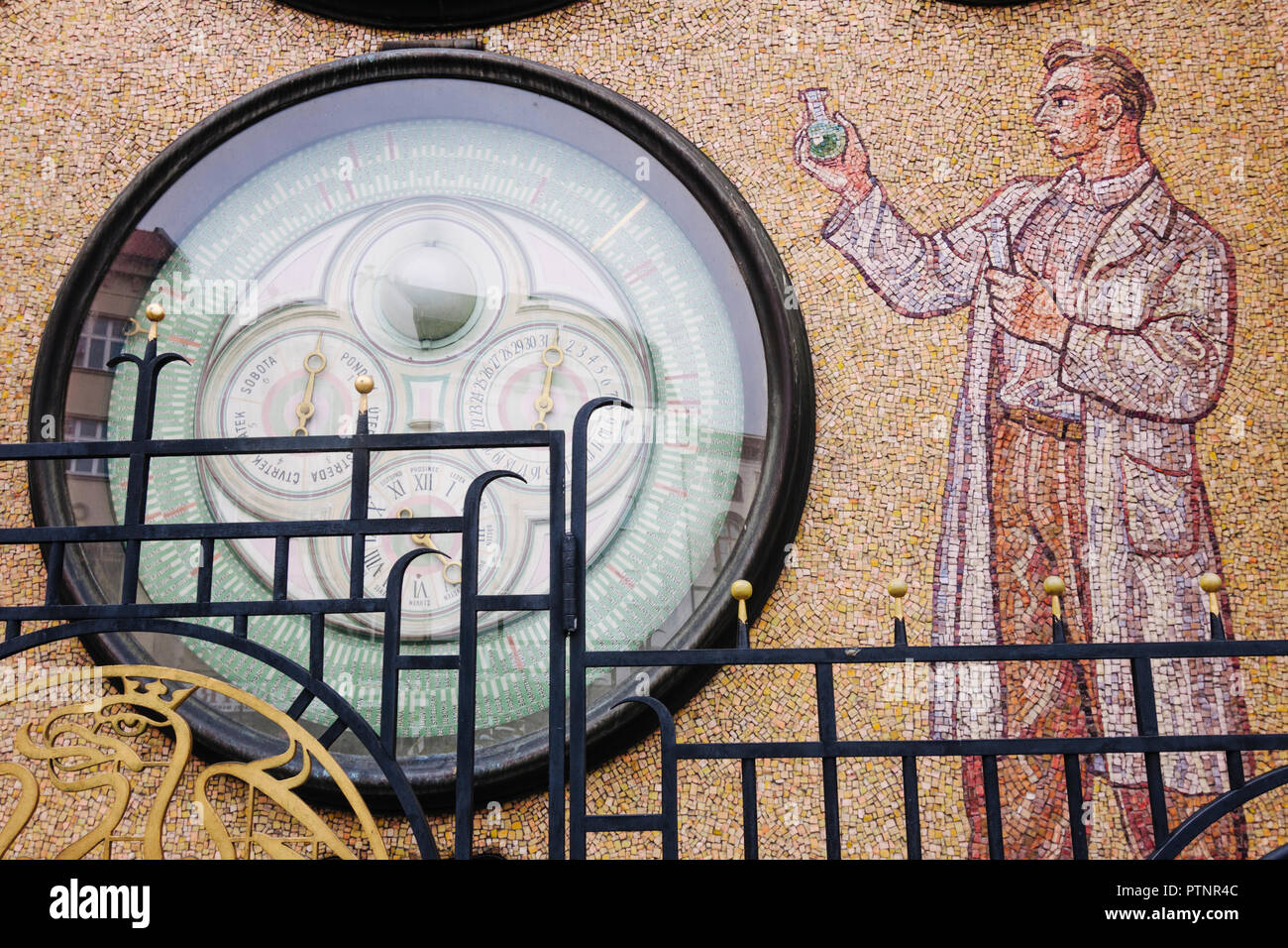 Olomouc, Moravia, Czech Republic :  Astronomical clock of the Town Hall rebuilt in Socialist-Realist style in the 1950s, after the original was damage - Stock Image